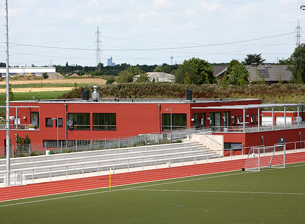 New construction of a club house in  Sportpark Süd in Niederkassel
